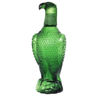 Vintage Green Glass Eagle Decanter