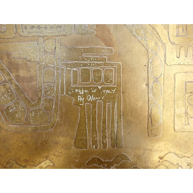 Italian Acid Etched Brass Coffee Table - Image 4 of 5