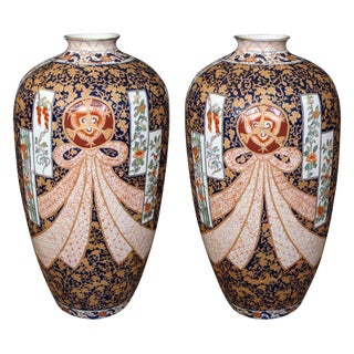 A Large Pair of French Samson Polychromed Porcelain Vases