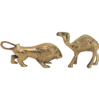 Lion & Camel Brass Paperweights - A Pair