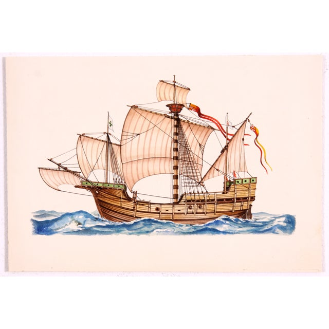Santa Maria Ship Watercolor - Image 2 of 3