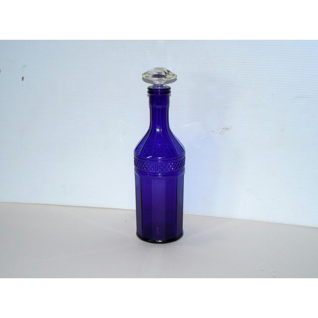Faceted Cobalt Glass Decanter - Image 2 of 6