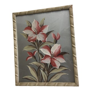 Vintage Floral Painting on a Silver Background