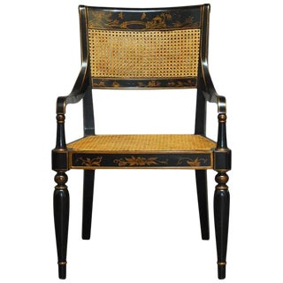 Regency Style Chinoiserie Painted Cane Chair by Bernhardt