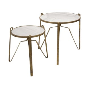 Marble Top Tables with Gold Base - A Pair