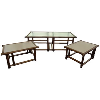 Mid Century McGuire Bamboo Table With Stools Set