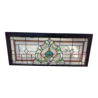 Vintage Leaded Stained Glass Window