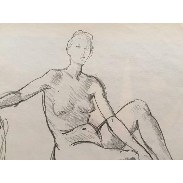 1951 Mid Century Rene Marcil Nude Female Drawing - Image 4 of 4