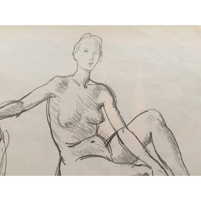 Image of 1951 Mid Century Rene Marcil Nude Female Drawing