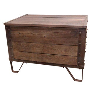 Wooden Chest With Metal Details & Studs