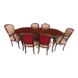 French Style Burlwood Top Dining Set