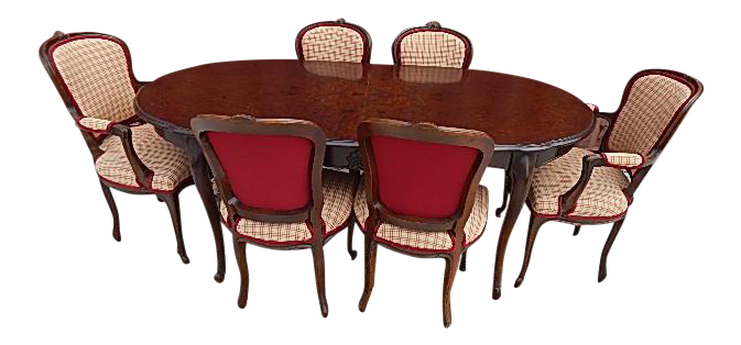 Marvelous French Style Burlwood Top Dining Set