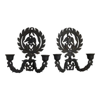 Vintage Cast Iron Sconces - A Pair