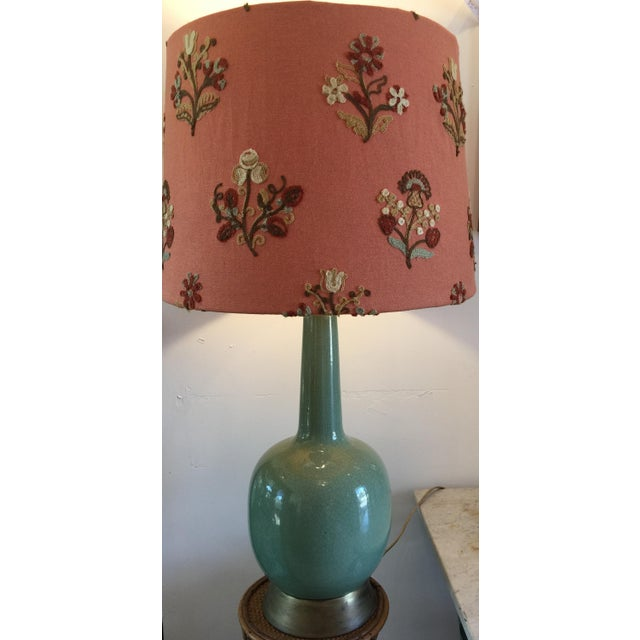 Vintage Celadon Lamp with Crewel Shade - Image 2 of 4