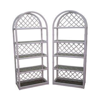 Clark Casual White Rattan Bamboo Etageres - A Pair