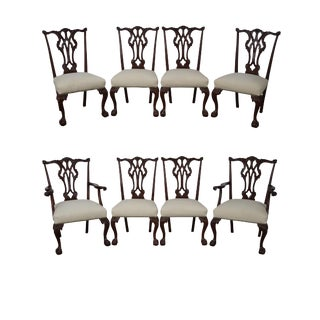 Solid Mahogany Chippendale Dining Chairs - Set of 8