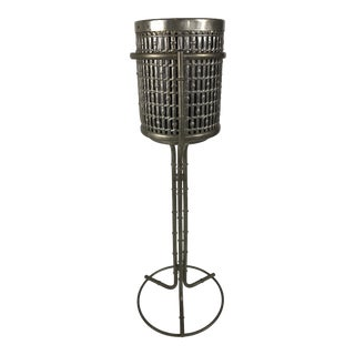 Aluminum Bamboo Motif Ice Bucket & Stand