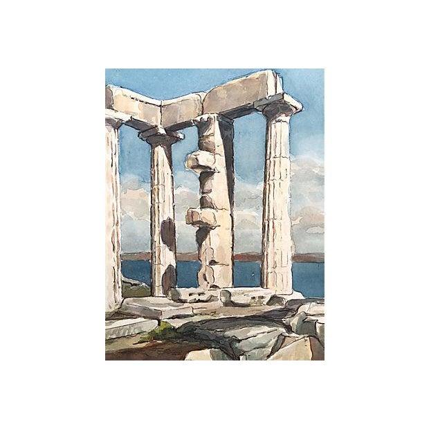 Grecian Ruins Temple of Poseidon Watercolor C.1950 - Image 2 of 5