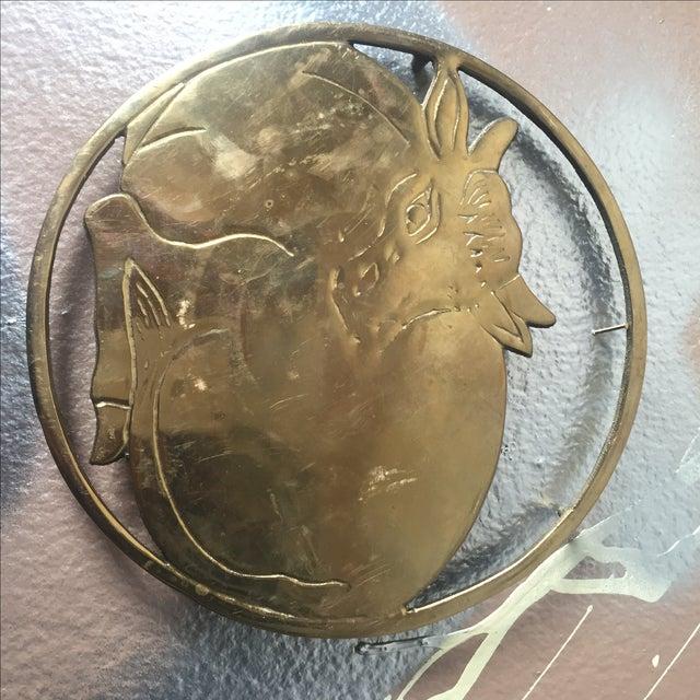 Vintage Solid Brass Sitting Cow Potholder Decor - Image 3 of 4