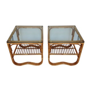 Vintage Rattan & Bamboo Side Tables - A Pair