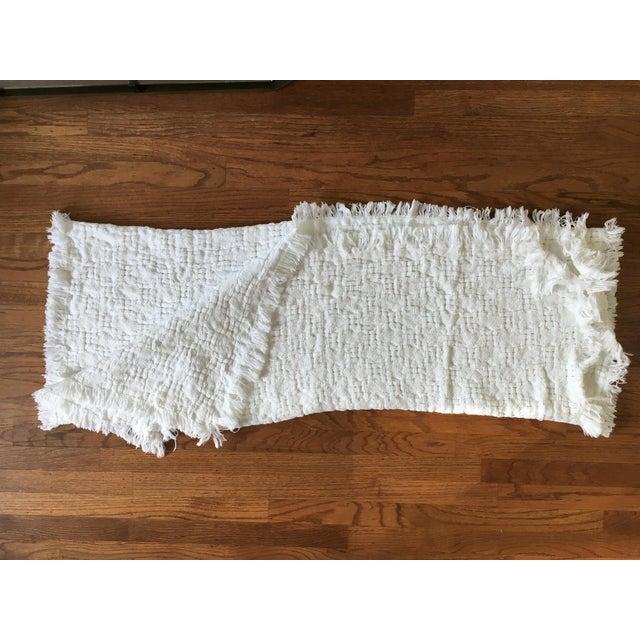 Handwoven White Basketweave Throw - Image 4 of 4