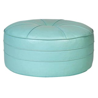 1960s Turquoise Round Pouf or Ottoman