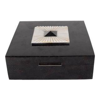Lux Square Blacktab Shell Box with Allan Shell Overlay and Tahiti Shell Pyramid