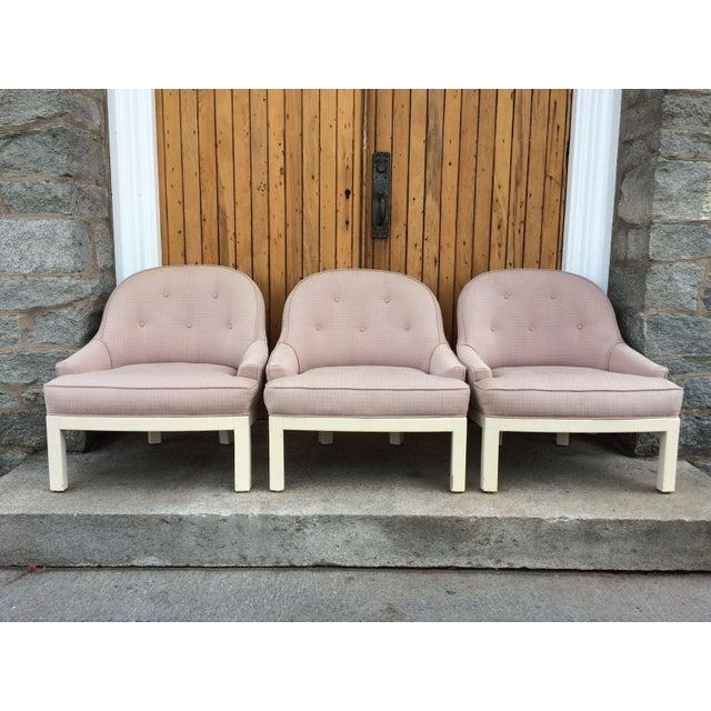 Image of Vintage Hollywood Regency Barrel Back Chairs - S/3