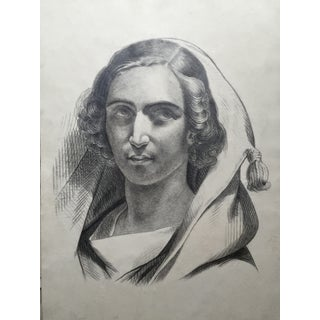 Antique French Portrait Drawing of Woman C.1847