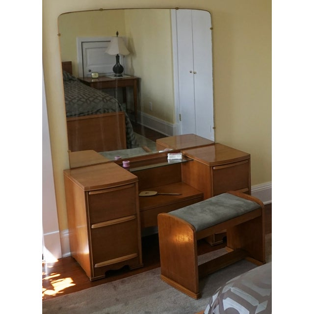 Image of Mid Century Mirrored Vanity and Bench