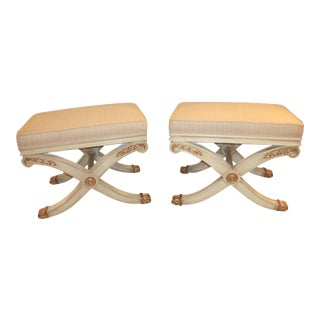 Maison Jansen Style X-Form Benches - A Pair