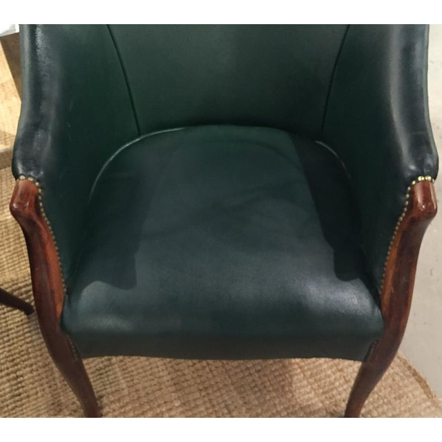 Green Barrel Chairs, Nail Head Trim - Pair - Image 5 of 9