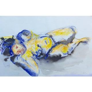 """""""Sleeping"""" Watercolor & Pastel Drawing"""