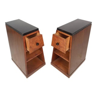 Art Deco Style Pyramid Shaped Walnut & Burl Nightstands - A Pair