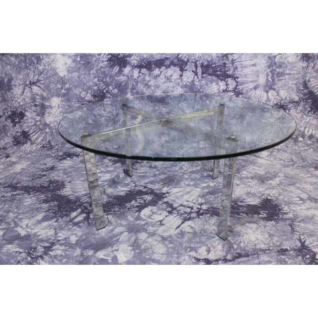Barcelona Mid-Century Modern Round Glass Top Coffee Table - Image 2 of 4