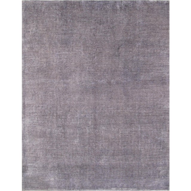 Image of Overdyed Amethyst Wool Area Rug - 9′11″ × 13′2″