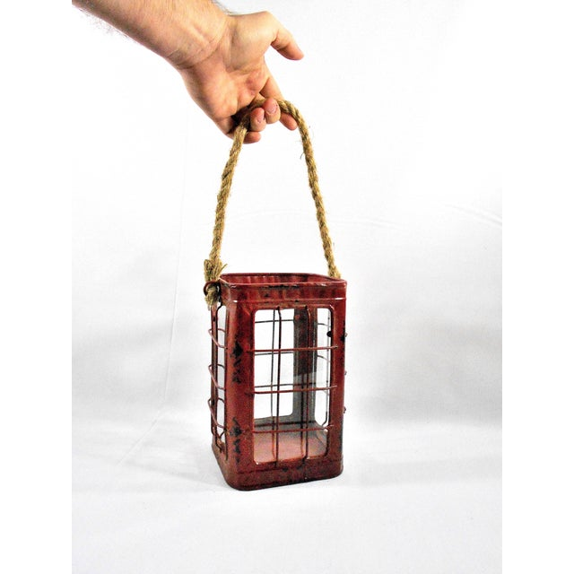 Red Rustic Tin Glass Candle Lantern & Rope Handle - Image 4 of 6
