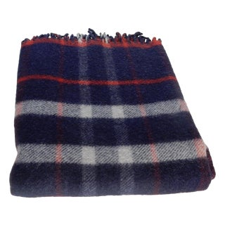 Vintage 1940s Blue Plaid Blanket
