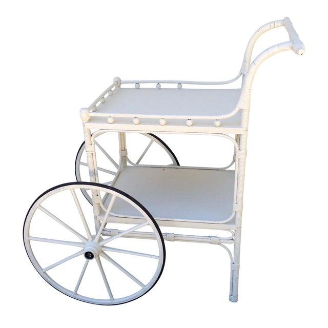 Vintage Heywood-Wakefield Wicker Bar Cart - Image 1 of 6