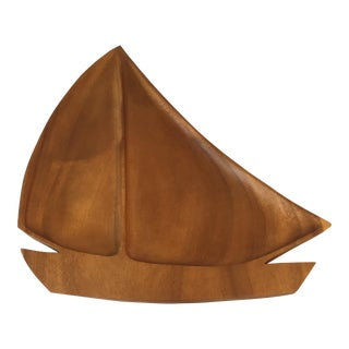 Carved Wood Sailboat Serving Tray