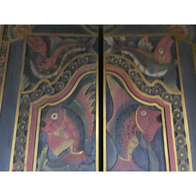 Balinese Hand Carved Sealife Motif Door Panels - Image 6 of 9