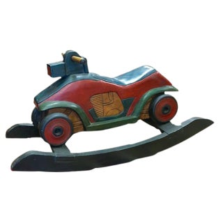Motorcycle ATV Hand Carved & Painted Rocking Horse