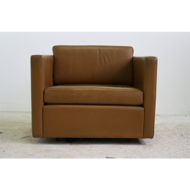 Knoll Pfister Brown Leather Club Chair - 4 Avail. - Image 4 of 6