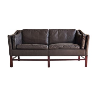 Georg Thams Danish Down-Filled Leather & Rosewood Sofa