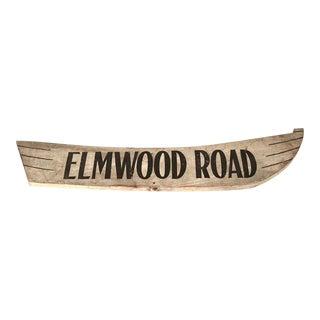 "WOODEN STREET SIGN: ""ELMWOOD ROAD"""