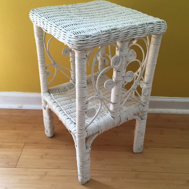 Image of White Wicker Scrolling Detail Side Table