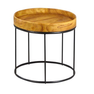 Round Wood & Iron End Table