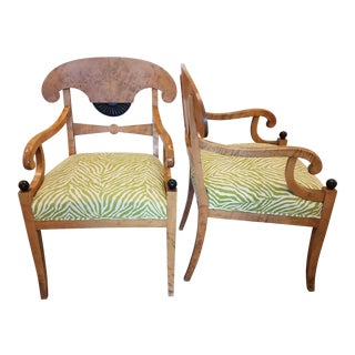 Swedish Satin Birch 2nd Biedermeier Armchairs - A Pair
