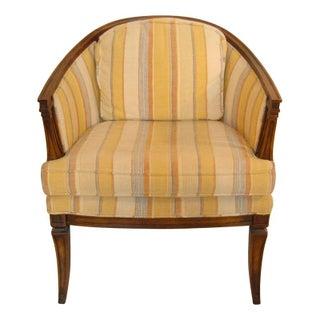 Vintage Orange & Yellow Striped Barrel Chair