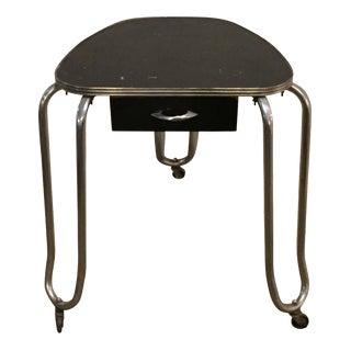 Vintage 1970s Steel & Wood Rolling Side Table